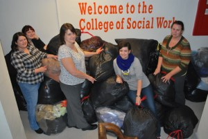 Social work students and staff are pictured. From left: Charlotte Howard, Cathi Arwood, Karla Edwards, Carolyn Mills, and Ginny Garner.
