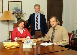 """Members of the editorial team who worked on the ninth volume of """"The Papers of Andrew Jackson."""" Left to right, Laura-Eve Moss, Daniel Feller, and Thomas Coens"""