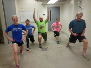 Van Amstel, far right, leads the Farm Animal Workout Group in exercises.