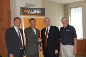 From left: Chip Bryant, executive director of development for the College of Business Administration; Gary Pratt, Accomplished Alumnus; Lee Patouillet, associate vice chancellor for Alumni Affairs; and Tom Graves, director of operations for Anderson Center for Entrepreneurship and Innovation.