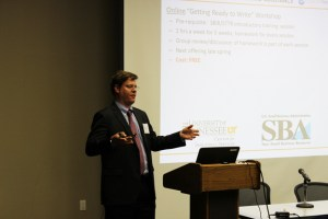 """Jim Stefansic, director of commercialization for LaunchTN, delivers the keynote address """"Fundraising Strategies for Medical Device Companies"""" at the Institute of Biomedical Engineering's annual symposium at the UT Conference Center on Tuesday."""