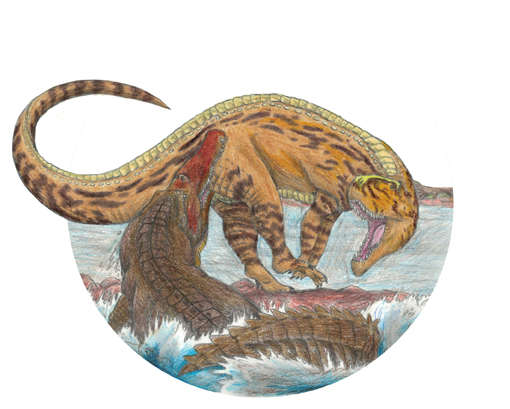 Reconstruction of the interaction of large land predators (rauisuchid) and aquatic predator (phytosaur) about 210 million years ago based on research by a joint team of University of Tennessee and Virginia Tech researchers. Christopher Hayes, a freshman at Virginia Tech, composed the drawing.