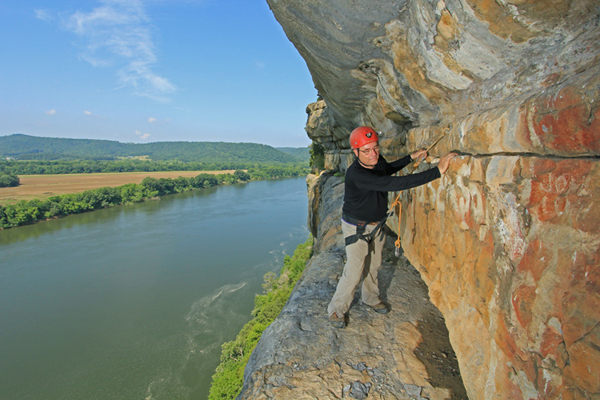 Jan Simek, researching prehistoric rock art above the Tennessee River in Marshall County, Alabama.