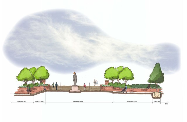 An elevation illustration for the renovated Torchbearer Plaza. Work is set to begin in spring 2015.