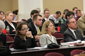 UT Law student Anna Swift (far left), attorney Brenda McGee, and UT Law professor Dean Rivkin of the Education Law Practicum at a 2013 Tennessee Court of Appeals panel. Photo courtesy of Lincoln Memorial University.