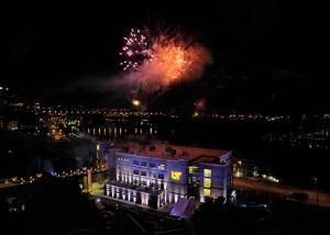 fireworks over John D. Tickle Engineering Building during dedication ceremony
