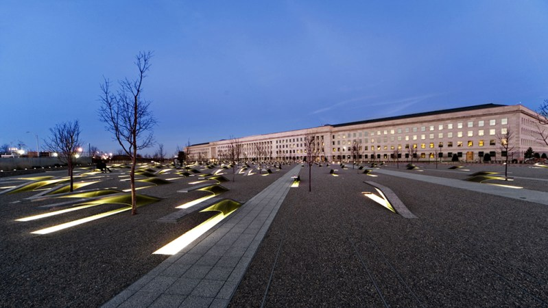 Pentagon Memorial at night
