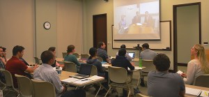 Krista E. Wiegand leads a video conference between graduate students and the State Department to discuss insurgencies, separatist movements and civil wars.