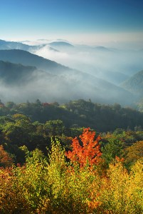 A landscape shot of the Great Smoky Mountains.