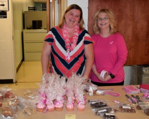 Facilities Services employees Jeaneen Smith and Veronica Huff show their support during Facilities Services Pink Day.