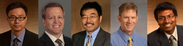 The Center for Transportation's 2015 Fellows, from left to right: Mingzhou Jin – Department of Industrial and Systems Engineering; John Bell – Department of Marketing and Supply Chain Management; John Ma – Department of Civil and Environmental Engineering; Charles Sims – Department of Economics, Howard Baker Jr. Center for Public Policy; Subhadeep Chakraborty – Department of Mechanical, Aerospace and Biomedical Engineering.