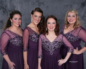 UT senior Hailey Myatt, third from left, is part of ClassRing, a barbershop quartet that placed eighth in the world at last month's Sweet Adelines International Quartet Finals in Las Vegas.