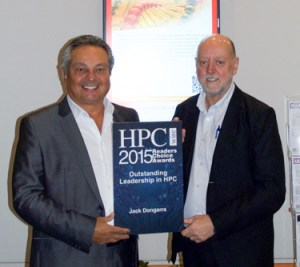 UT's Jack Dongarra, right, poses with his award for Leadership in High Performance Computing with Tom Tabor at HPCwire's Reader's Choice Awards.