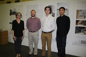 The Brewer Ingram Fuller Sustainable Design Award was presented to fourth-year architecture students Austin Fleming, second from right, and Beasley Chantharath, far right. Also pictured are Jennifer Akerman, left, assistant professor in UT's School of Architecture, and Sean Martin, second from left, Brewer Ingram Fuller Architects.