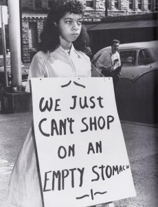 "Scene from a protest, believed to be circa 1956, in front of Rich�s department store in downtown Knoxville that is featured in the documentary ""Say It Loud: Knoxville During the Civil Rights Era.� Photo courtesy Knoxville News-Sentinel"