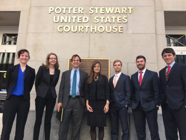 Representing the College of Law at the Sixth Circuit Court of Appeals in March are Sara Ohlman, Alexandra Wolff, Adjunct Professor Wade Davies, Professor Lucy Jewel, Cameron Kapperman, Patrick Morrison, and Trey Neal.