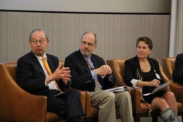UT Knoxville Chancellor Jimmy G. Cheek, David Kosson of Vanderbilt University, and Joanne Romagni of UT Chattanooga speak during a panel discussion during the Southeast Regional Energy Innovation Workshop in Chattanooga, Tennessee, on Monday, May 23, 2016. (Photo by Erin Chapin/University of Tennessee)