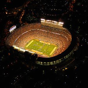 Neyland Stadium at night from above