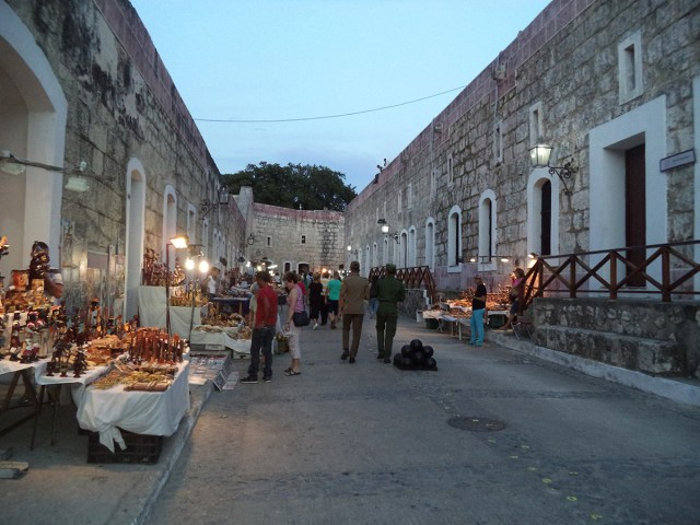 A view of a nighttime street market in Havana's Castillo de san Carlos de la Cabana. The group from UT was in Cuba as part of a program helping with work projects and exploring the culture and history of Cuba.