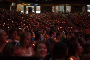 Students holding glow sticks at torch night. Photo by B.J. Crawdord/Creative Communications.