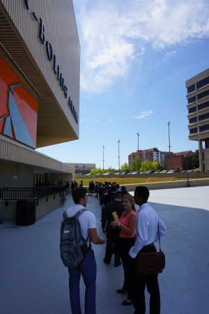 The line to get into the College of Engineering fall expo extended around Thompson-Boling Arena a full hour after it started.