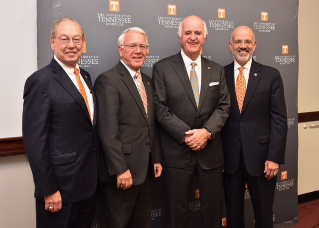 (Left to right) UT Knoxville Chancellor Jimmy G. Cheek, Tickle College of Engineering Dean Wayne Davis, John D. Tickle and UT President Joe DiPietro stand together after the UT Board of Trustees approved the naming of the college of engineering in Tickle's honor on Oct. 14, 2016.