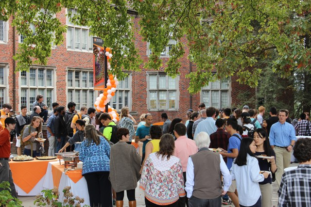 Hundreds of faculty, students and staff flooded the plaza between Ferris and Perkins Halls on Nov. 3 for a celebration of the naming of the Tickle College of Engineering.