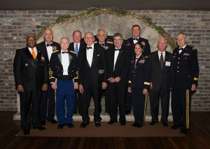 The first class of UT Army ROTC Hall of Fame inductees are (l-r) Lt. Col. (Ret.) Allen B. West ('83), Maj. Gen. (Ret.) John Tindall ('67), Col. (Ret.) William Guinn ('52), Brig. Gen. (Ret.) David E. Greer ('72), James A. Haslam II ('52), Brig. Gen. (Ret.) Clarence Bayless ('65), Foster Arnett Jr., representing Lt. Col. (Ret.) Foster Arnett ('42), Maj. Gen. (Ret.) William G. Beard ('80), Brig. Gen. (Ret.) Robin B. Akin ('82), Maj. Gen. (Ret.) Kenneth Bouldin ('64), and Maj. Gen. (Ret.) James R. Montgomery ('52). (Not pictured: Maj. Gen. (Ret.) Douglas Carver ('73).