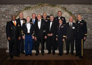 The first class of UT Army ROTC Hall of Fame inductees are (l-r) Lt. Col. (Ret.) Allen B. West ('83), Maj. Gen. (Ret.) John Tindall ('67), Col. (Ret.) William Guinn ('52), Brig. Gen. (Ret.) David E. Greer ('72), James A. Haslam II ('52), Brig. Gen. (Ret.) Clarence Bayless ('65), Foster Arnett Jr., representing Lt. Col. (Ret.) Foster Arnett ('42), Maj. Gen. (Ret.) William G. Beard ('80), Brig. Gen. (Ret.) Robin B. Akin ('82), Maj. Gen. (Ret.) Kenneth Bouldin ('64), and Maj. Gen. (Ret.) James R. Montgomery ('52). (Not pictured: Maj. Gen. (Ret.) Douglas Carver ('73).