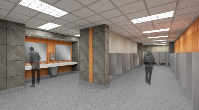 Rendering of a new restroom along the Thompson-Boling Arena concourse. Image courtesy of Studio Four Design.