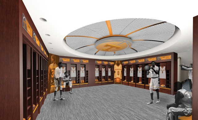 Rendering of the men's locker room in Thompson-Boling Arena. Image courtesy of Studio Four Design.