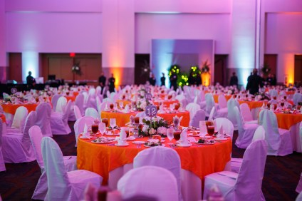 The table setting from the 2017 Chancellor's Honors Banquet held at the Knoxville Convention Center.