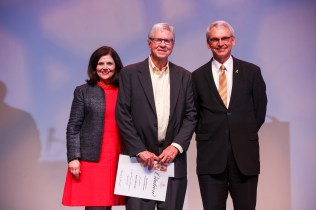 Excellence in Academic Outreach Award - Chancellor Davenport, Professor Robert Kronick and Interim Provost John Zomchick.