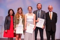 Graduate Student Teaching Award - Chancellor Davenport, Brittany Stephenson, Carrie Dresser, Mark Bly and Interim Provost John Zomchick.