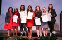 Chancellor's Citations for Extraordinary Campus Leadership and Service - Chancellor Davenport and students Shalini Yerukala, Enkeshi Thom, Sophia Rubio, McKinsey Patterson, Alina Kathryn Clay, and Alexandra Brito. Not pictured is Guru Venkatesan.