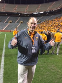 Band director Don Ryder gives the thumbs-up on the crowd.