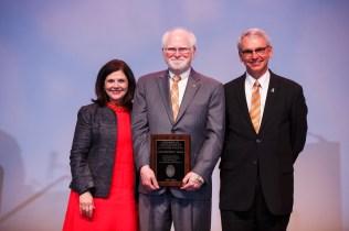 L.R. Hesler Award – Chancellor Davenport, Professor Chris Craig and Interim Provost John Zomchick.