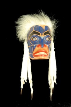 Killer Whale Mask, 1990, Chief Walter Harris (Git'san and Tsimshian, 1931–2009). Wood, ermine fur, animal fur, paint. Anonymous lender.