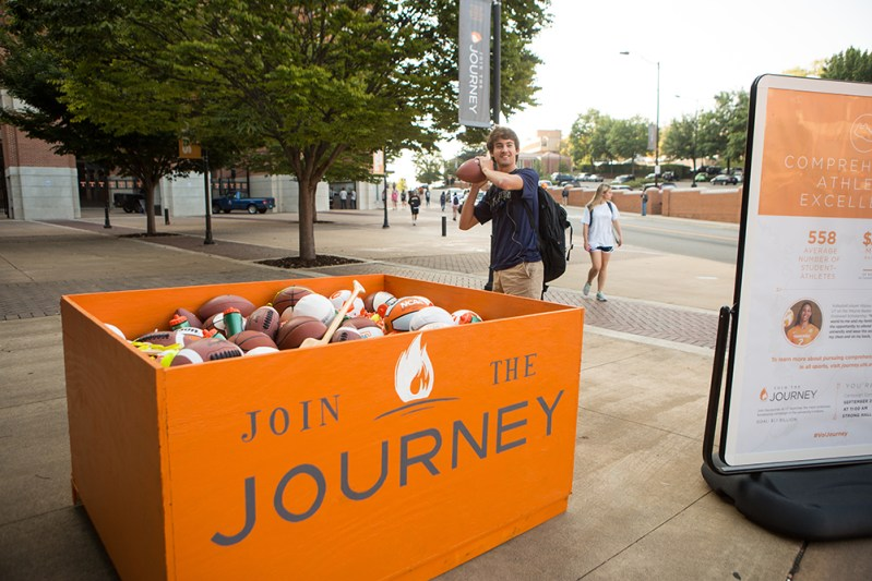 Join the Journey Campaign Installation - Day 2 Sporting equipment at gate 21 of neyland stadium