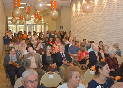 College of Arts and Sciences faculty and staff, several state legislators, and friends of the university attend an opening ceremony for Strong Hall on Friday, Sept. 8, 2017.