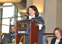 Chancellor Beverly Davenport addresses attendees of the opening ceremony for Strong Hall on Friday, Sept. 8, 2017.