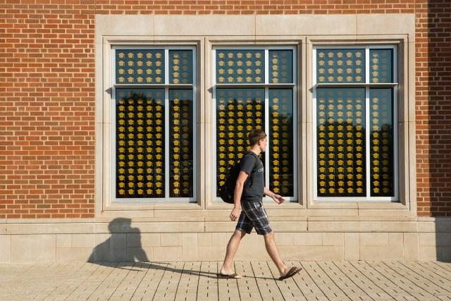 Join the Journey; Campaign Installation; mortar boards; undergraduate scholarships;student union; windows; orange;