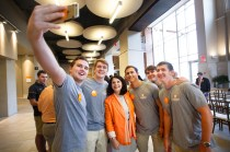 Students take selfies with Chancellor Beverly Davenport at the Join the Journey campaign launch at Strong Hall on September 22, 2017. Photo by Steven Bridges