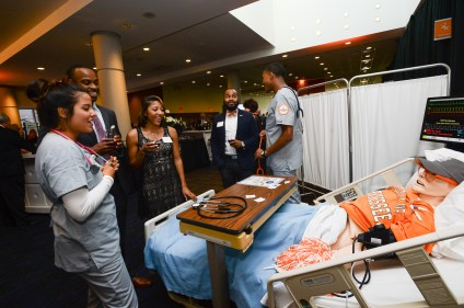 The College of Nursing's interactive display at the Join the Journey kick-off event at the Knoxville Convention Center on September 22, 2017. Photo by Steven Bridges