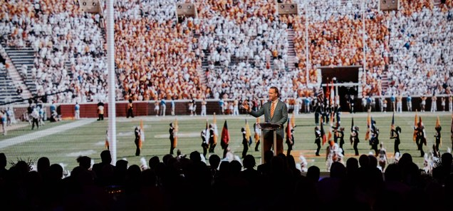Alumnus Peyton Manning speaks to event attendees during the Join the Journey kick-off event at the Knoxville Convention Center on September 22, 2017. Photo by Steven Bridges
