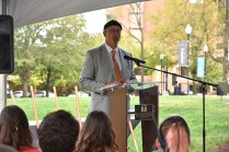 Faculty Senate President Beauvais Lyons addressed a crowd gathered for a tree-planting ceremony on Wednesday in Circle Park.