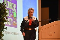 Grandin discussed how people with different kinds of minds—from visual thinkers like artists to pattern thinkers like mathematicians to wordsmiths—can work together to accomplish impactful things.