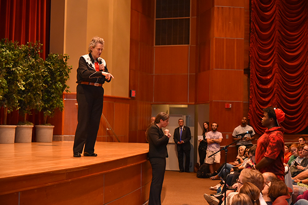 Grandin answered questions from the audience after her presentation.