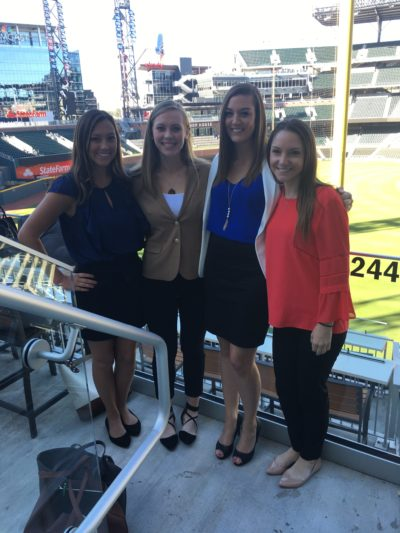 Students McKenzie Fowler, Lauren Hood, Paige Bureau, and Lauren Turner at Sun Trust Park.
