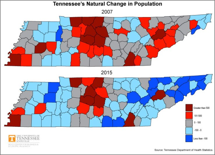 Tennessee Map Natural Change 2007 and 2015
